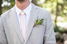 Tanis Katie Photography // www.taniskatie.com // Beige pinstripe suites // pink ties // beige and pink wedding // corsage // Confetti Floral Design // Green corsage // Outdoor wedding