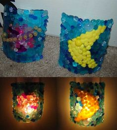melted bead nightlights - melt beads into squares, while still warm, mold around a mug or can, then hot glue onto a dollar store nightlight.