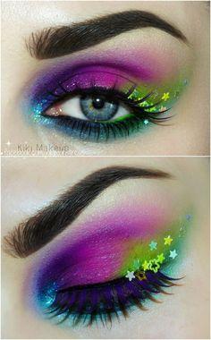 Eyes make up Crazy Eye Makeup, Creative Makeup Looks, Eye Makeup Art, Colorful Eye Makeup, Beautiful Eye Makeup, Eye Art, Cute Makeup, Pretty Makeup, Eyeshadow Makeup