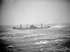 Liberty ship in high seas