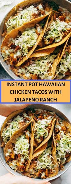 instant pot hawaiian chicken tacos with jalapeño ranch - Cook Recipes Book Turkey Recipes, Mexican Food Recipes, Chicken Recipes, Dinner Recipes, Drink Recipes, Chicken Crisps, Chicken Tacos, Instant Pot Pressure Cooker, Pressure Cooker Recipes