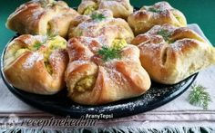 AranyTepsi: Dill and cottage cheese baty Hungarian Recipes, Cottage Cheese, Baked Potato, Yummy Food, Delicious Recipes, Sausage, Garlic, Potatoes, Baking
