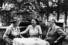 First Lady Eleanor Roosevelt, Queen Juliana of the Netherlands, President Franklin D. Roosevelt, at the Val-Kill picnic grounds in Hyde Park, New York, 1943.