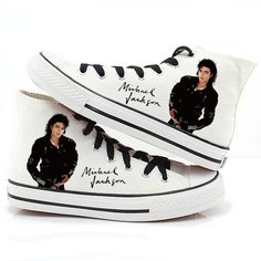 Michael Jackson Canvas Shoes Hand-Painted Punk Rock Lovers Casual Sneakers New Michael Jackson Shoes, Michael Jackson Party, Michael Jackson Dangerous, Michael Love, Michael Jackson Funny, Mike Jackson, Jackson Family, White Canvas Shoes, Painted Canvas Shoes