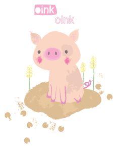 oink oink pig illustration