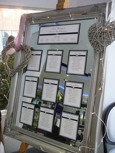 Mirror hard to find, maybe fab like invitations and reflective paper with names