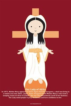 Happy Saints Mother Mary Posters: Happy Saints Our Lady of Akita Poster, $5.00 from MagCloud