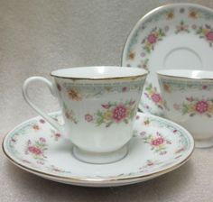 Lovely Vintage Pair of Made in China Demitasse Cups Saucers Dainty Floral Pat   eBay