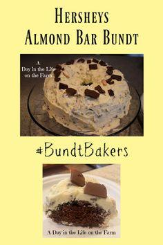 A Day in the Life on the Farm: Hershey Bar with Almonds Bundt #BundtBakers Almond Bars, Hershey Bar, Hershey Chocolate, Almond Joy, Coconut Slice, Recipe Generator, Chocolate Bundt Cake, Cake Cover