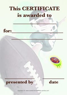 Free printable football certificate templates football printable football certificate coolest free printables yadclub Gallery