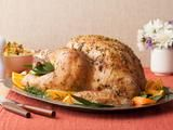 Brine & Roast Recipe Roasted Thanksgiving Turkey Recipe  I changed it by adding 1 more cup water & apple juice and adding 2 tablespoons Bells Stuffing seasoning to the brine