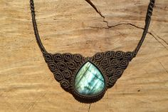 labradorite cabochon,labradorite necklace,macrame necklace,macrame pendant,stone necklace,statement necklace,cabochon necklace,gift for her by ARTEAMANOetsy on Etsy