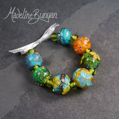 Spring Day rounds Lampwork bead set 7 plus 8 by MadelineBunyan, £55.00