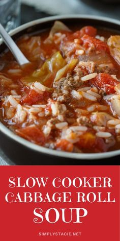 Cabbage Roll Soup gives you all those classic flavors of a cabbage roll, but in a hearty and comforting soup. Minimal prep required to make this hearty cabbage soup. Crockpot Dishes, Healthy Crockpot Recipes, Slow Cooker Recipes, Cooking Recipes, Dinner Crockpot, Keto Recipes, Slow Cooker Cabbage Rolls, Cabbage Roll Soup, Chowder Recipes