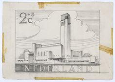 Voorstudie voor postzegels Nederland 1955 Zomerpostzegels, Stadhuis te Hilversum