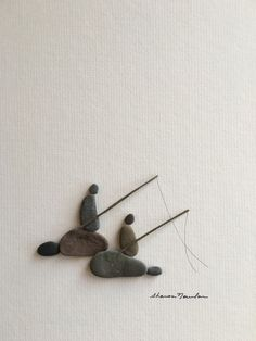 Fishing pebble art of ns by sharon nowlan van PebbleArt op Etsy Pebble Painting, Pebble Art, Stone Painting, Stone Crafts, Rock Crafts, Arts And Crafts, Diy Crafts, Pebble Pictures, Stone Pictures