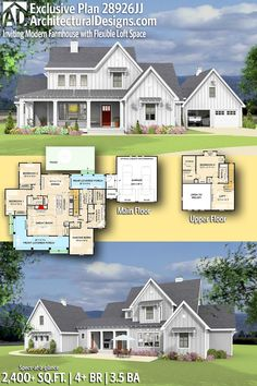 Architectural Designs Exclusive Farmhouse House Plan 28926JJ | 4 - 5 beds | 3.5 baths | 2,400+ Sq.Ft. | Ready when you are. Where do YOU want to build? #28926JJ #adhouseplans #architecturaldesigns #houseplan #architecture #newhome #newconstruction #newhouse #homedesign #dreamhome #homeplan #architecture #architect #housegoals  #house #home #design #modern #farmhouse #exclusive