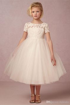 Beige Flower Girls Dresses Short Sleeve Ball Gown Pleats Tulle Girls Party Dresses Summer Style Cute Girls Party Dresses Cheap Flower Girls Dresses Girls Party Dresses 2017 Online with $89.0/Piece on Dqlstudio's Store | DHgate.com