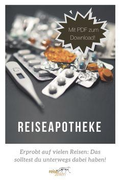 Reiseapotheke Checkliste: Eine gut sortierte Reiseapotheke mit allen wichtigen Medikamenten gehört für Notfälle unbedingt ins Gepäck.