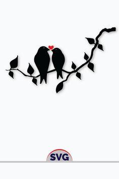Designs Discover Valentine Love Birds SVG Digital Silhouette and cricut Cut Cutting file Love Birds Drawing, Love Birds Painting, Bird Drawings, Easy Drawings, Silhouette Cameo, Vogel Silhouette, Silhouettes, Valentine Love, Black Bird Tattoo