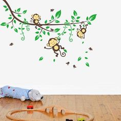 green tree branch wall stickers boys kids home bedroom decoration cute monkeys wallpaper decals School Wall Decoration, Playroom Wall Decor, Rooms Home Decor, Decor Room, Nursery Wall Stickers, Kids Wall Decals, Baby Nursery Decor, Wall Stickers Usa, Removable Wall Stickers