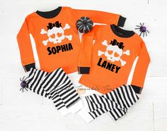 Personalized Cute Skull Girl Infant & Toddler Halloween Pajamas - baby halloween pjs - fall pajamas for babies- pyjamas for babies and kids by TwinkleTwinkleTees on Etsy Halloween Pregnancy Shirt, Halloween Pajamas, Pregnant Halloween, Toddler Halloween, Pregnancy Shirts, Pyjamas, Maternity, Infant Toddler, Tees