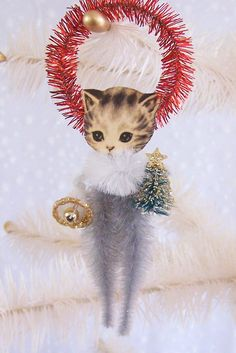 Vintage Kitten Christmas Decoration Feather Tree Ornament