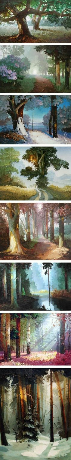 Unique tree path painting ideas. So pretty!
