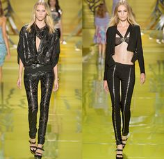 Versace 2014 Spring Summer Womens Runway Collection - Milan Fashion Week - Rock n Roll Streetwear Denim Jeans Leather Jacket Motorcycle Bike...