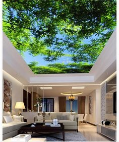 Blue sky Ceiling White Branches Photo Wall paper For Living Room Non-woven Wallpaper Ceiling Modern Sky Ceiling, Ceiling Murals, 3d Wall Murals, Ceiling Decor, Bedroom Ceiling, Bamboo Ceiling, Deco Design, Design Case, Wall Design