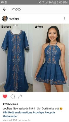 Omfg amazing transformation from a cool thrifted dress. Since I can't have it imma pin it lol but seriously dress is so beautiful. She's talented af
