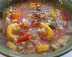 Grain Crazy: Qunioa Barley Vegetable Soup. Great way to use garden vegetables.