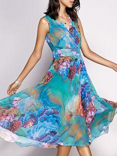 Women's Bohemian Sleeveless Floral Print Dress