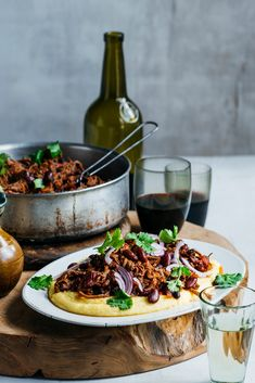 Slow-cooked Mexican Pulled Beef with soft cheesy polenta