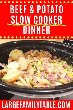 Put this large family beef & potato slow cooker dinner on to have a one pot dinner in a matter of hours. Feed your people quickly & easily. Batch Cooking, Cooking Tips, Real Cooking, Slow Cooker Recipes, Crockpot Recipes, Large Family Meals, Healthy Breakfast Options, Cream Of Chicken Soup, Easy Weeknight Meals