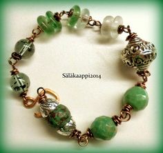 Earthy, Rustic, Bohemian, Bracelet, Green, Czech glass, Turquoise, Copper, Recycled glass by Salakaappi on Etsy