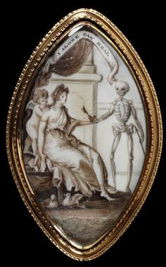 """Georgian era sepia mourning miniature on ivory set in gold. """"I Alone Can Heal"""" C. 1790"""