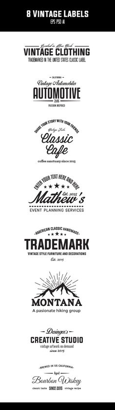 8 Vintage Label Logos by It's a Small World on @creativemarket