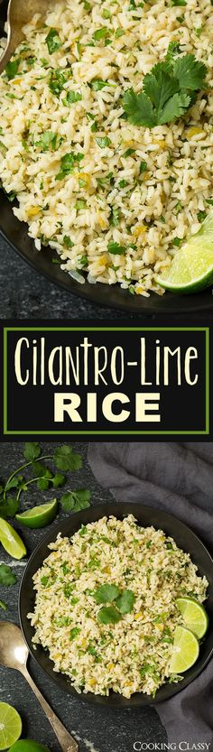 Cilantro Lime Rice - I can never get enough of this stuff! I crave it all the time! Perfect side for just about any Mexican or Southwestern meal. by Urban Elephant Mexican Dishes, Mexican Food Recipes, Vegetarian Recipes, Cooking Recipes, Healthy Recipes, Healthy Mexican Rice, Mexican Rice Bowls, Cuban Rice, Mexican Meals