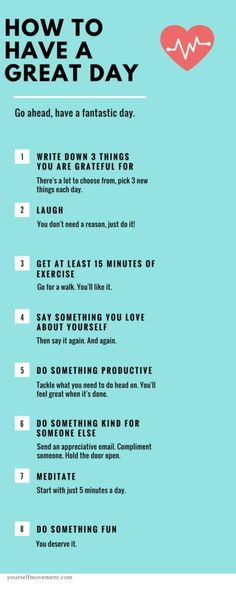 Psychology infographic and charts 8 Steps to having an awesome day infographic. Infographic Description 8 Steps to having an awesome day Good To Know, Feel Good, Relax, Motivation, Yoga, Good Advice, Self Improvement, Healthy Mind, Healthy Habits