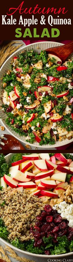 Autumn Kale Apple and Quinoa Salad - I finally like raw kale now thanks to this incredible salad! An autumn must!                                                                                                                                                                                 More