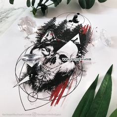 trash polka wolf skull geometric forest tree illustration raven Commissions are always welcome - commissions - Tattoo MAG Wolf Tattoos Men, Skull Tattoos, Sleeve Tattoos, Tattoos For Guys, Anubis Tattoo, Raven Tattoo, Lion Tattoo, Tattoo Wolf, Trash Polka Wolf