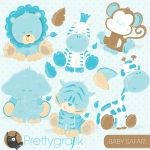 Baby blue animals clipart