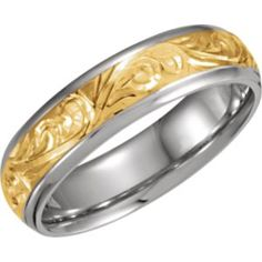 50055 / 18kt Yellow & Platinum / SIZE 11.00 / Polished / TWO TONE HAND ENGRAVED BAND