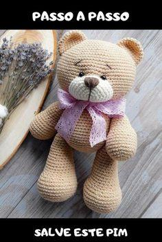 passo a passo Amigurumi Bear Teddy crochet pattern. Crochet Bear Patterns, Crochet Bunny Pattern, Crochet Rabbit, Crochet Teddy, Amigurumi Patterns, Amigurumi Doll, Doll Patterns, Crochet Baby, Free Crochet