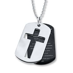 Men s Necklace Lord s Prayer Dog Tag Stainless Steel Dog Tag Necklace 4bb9afbb1