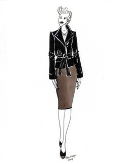 Business skirt, leather jacket, corporate style, illustrated by TESSA KOOPS www.tessakoops.com