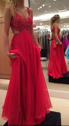 Spaghetti Strap Red Prom Gown,Chiffon Backless Formal Gown,Beadind#prom #promdress #dress #eveningdress #evening #fashion #love #shopping #art #dress #women #mermaid #SEXY #SexyGirl #PromDresses