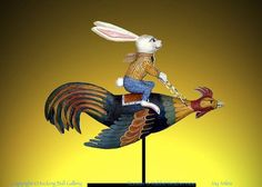 "Rabbit Riding Rooster Weathervane - Carved of pine. 22""L - Please like us on Facebook under Kicking Bull Gallery."