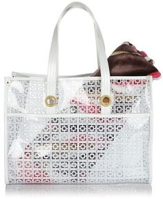 Trina Turk Clear Beach Tote with Melon Jungle Cat Towel - ShopStyle Evening Bags Swimwear 2014, Clear Handbags, Jungle Cat, Clear Bags, Bikini Beach, Trina Turk, Beach Towel, Evening Bags, Salt